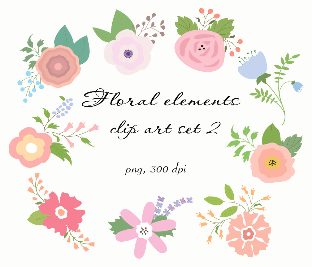 Elements clipart floral Clipart flower digital clipart floral