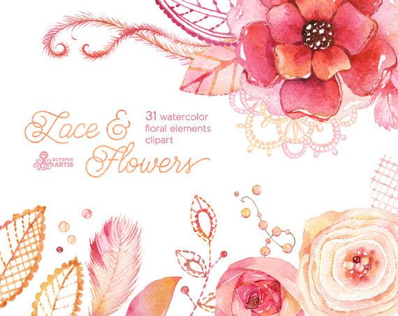 Elements clipart floral Wedding invite clip Watercolor diy