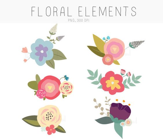 Elements clipart floral Flower Flower  Graphics drawn