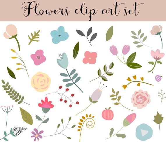 Elements clipart floral Flower Art Clip ClipArt drawn