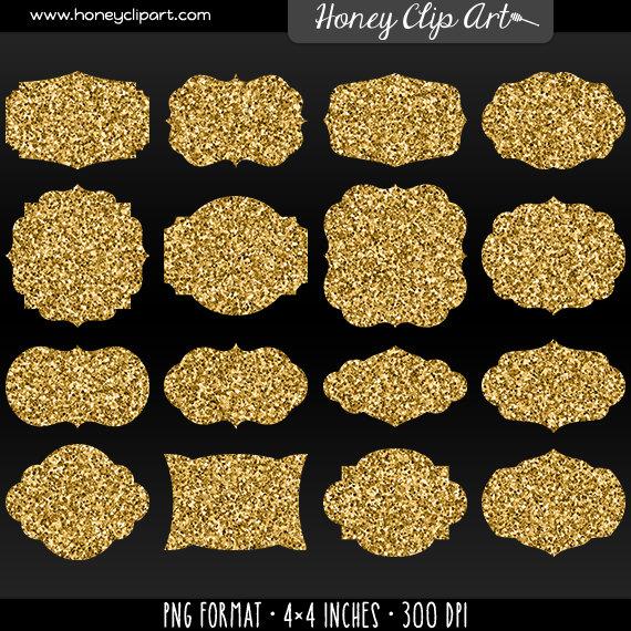 Pink Rose clipart glitter Labels Shapes Golden Gold Fancy