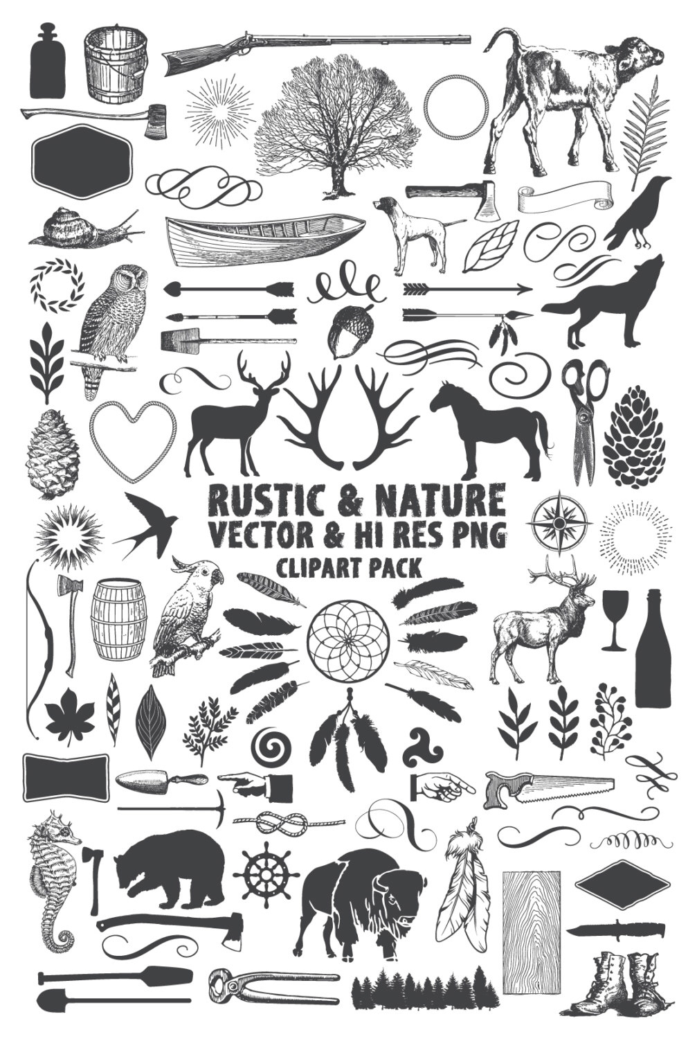 Elements clipart nature Clip Wilderness Hunting  Pack