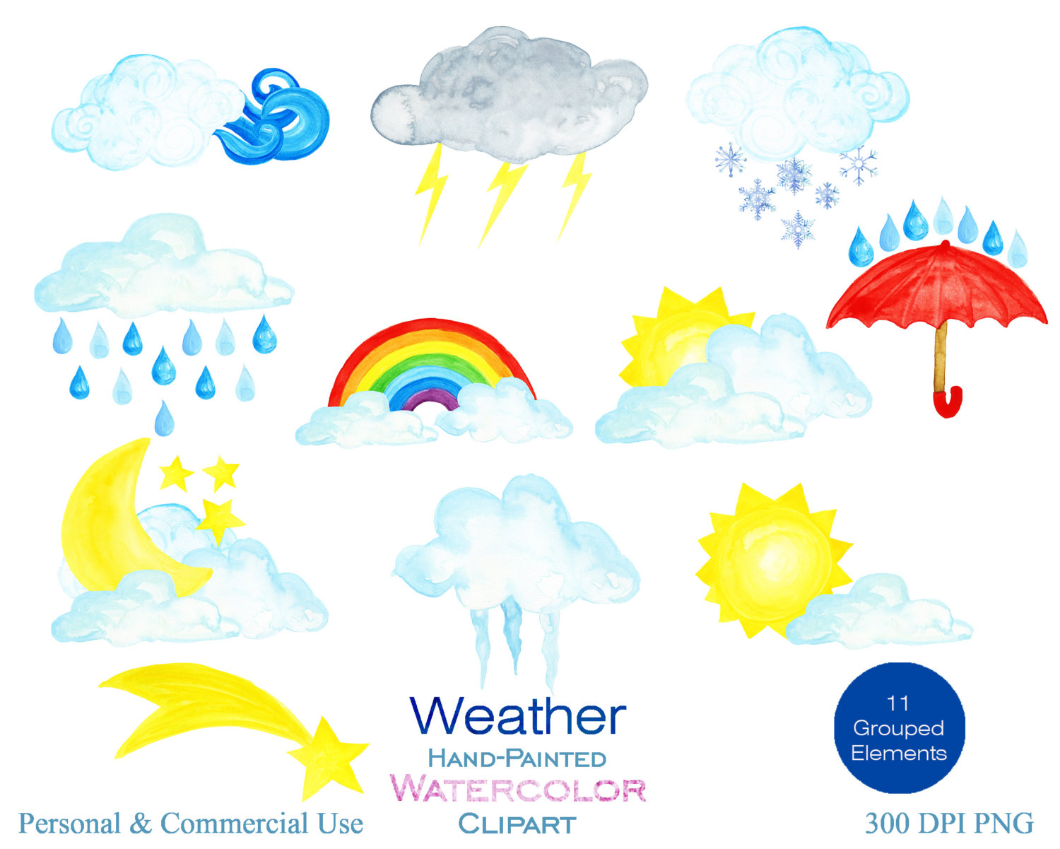 Elements clipart wind Commercial Cloud  Watercolor WATERCOLOR