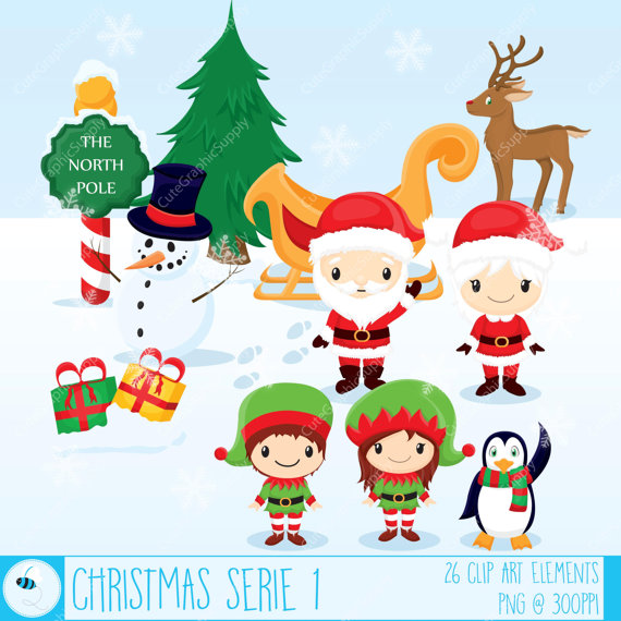 Penguin clipart reindeer Clipart Christmas Santa Art Christmas