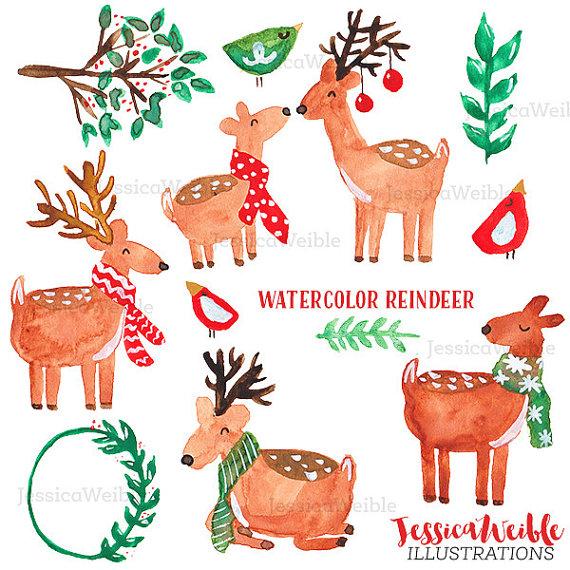 Christmas clipart watercolor Clip Watercolor Christmas Watercolor Digital
