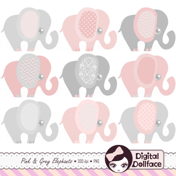 Pink clipart baby elephant And Elephant Art Baby Clipart