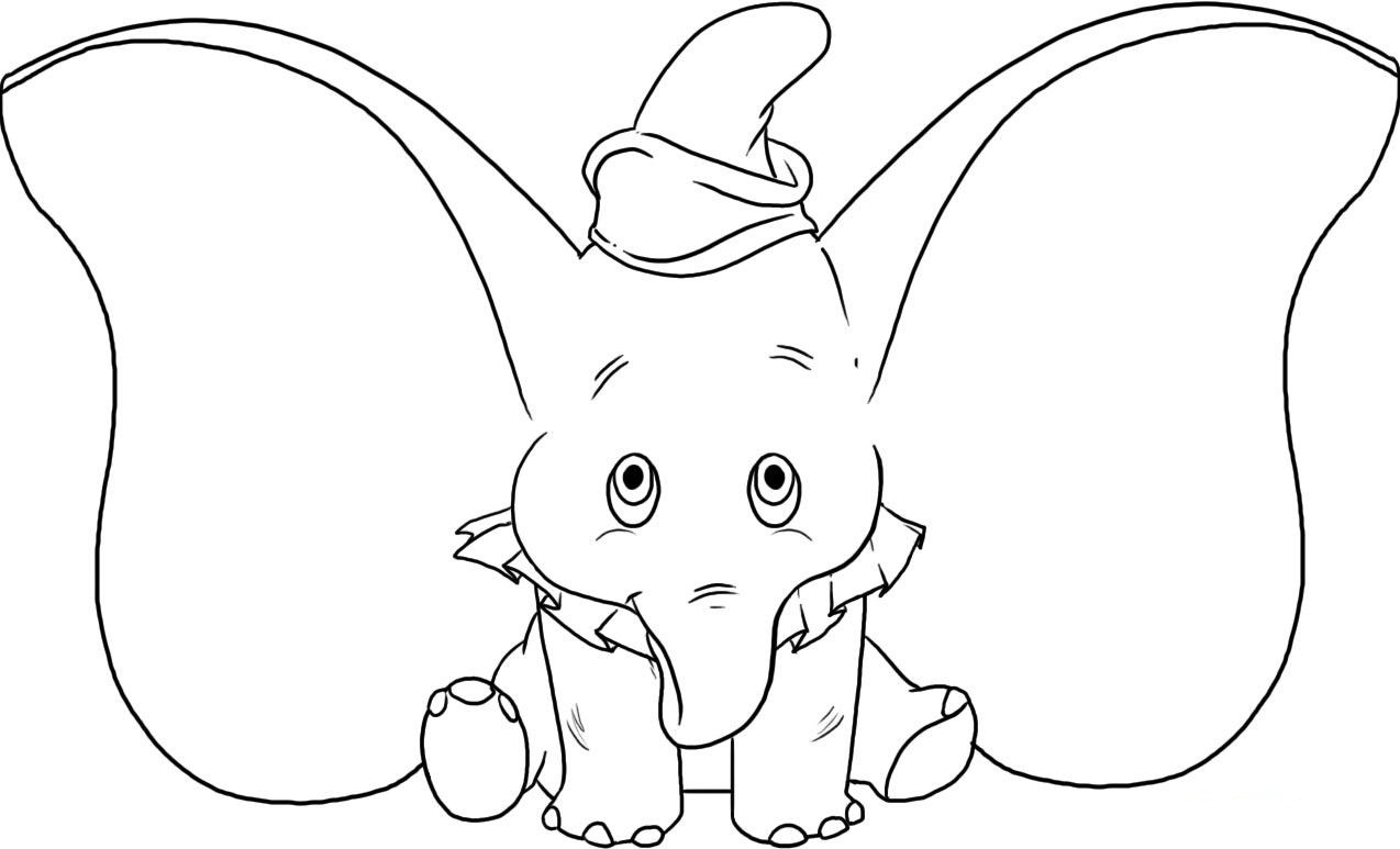 Elephant clipart coloring page - Pencil and in color ...