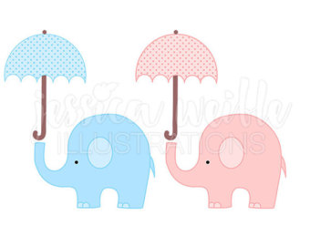 Navy clipart umbrella Baby elephants Umbrella Illustration Elephant