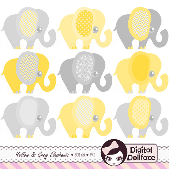 Yellow clipart baby elephant Graphic and Gray Yellow DigitalDollface