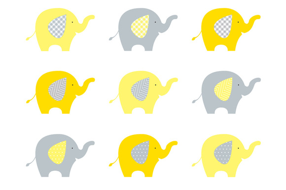 Yellow clipart baby elephant Grey Yellow And Clipart Clipart
