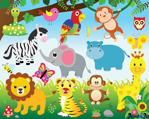 Zoo clipart jungle monkey Animals elephant clipart clipart and