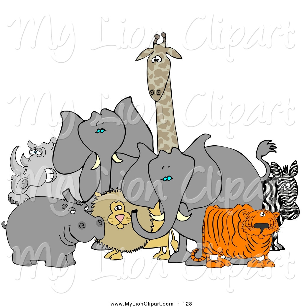 Zoo clipart lion tiger African Hippo Lion Tiger Free