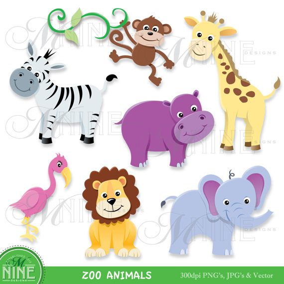Zoo clipart small animal For Digital images Giraffe Elephant