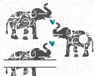 Asian Elephant clipart ornamental Elephant monogram elephant Elephant cut