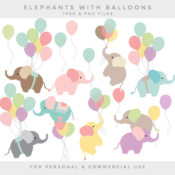 Baby Animal clipart pastel Baby with elephants baby personal