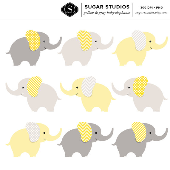 Yellow clipart baby elephant Clip Gray Yellow and Digital