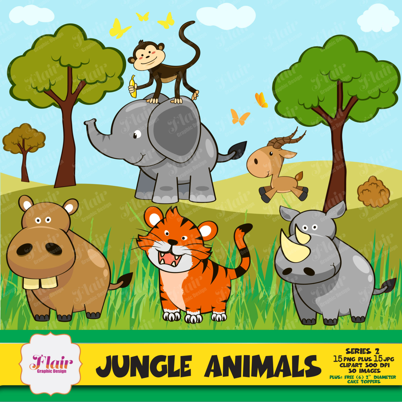 Zoo clipart jungle monkey Baby Animals Clipart digital Animals