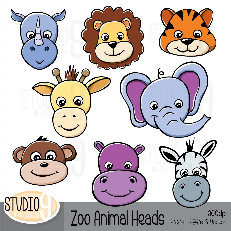 Zebra clipart jungle animal Art ZOO Clipart: HEADS Lion