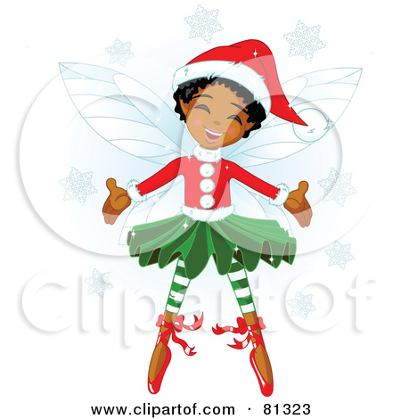 Elf clipart black christmas Happy african Fairy christmas In