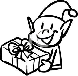 Elf clipart black christmas Christmas  Black A White