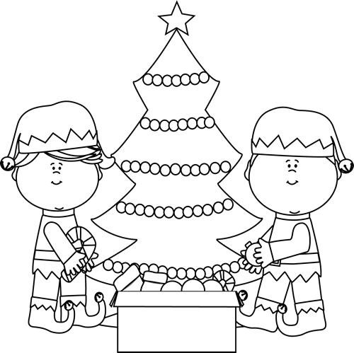 Elf clipart black christmas Clip Black and Tree and