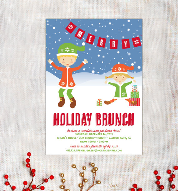 Elf clipart brunch Invitation to Party Christmas Holiday