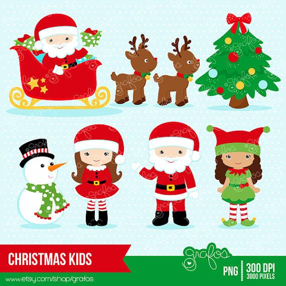 Elf clipart children's Digital CHRISTMAS Santa Elves Clipart