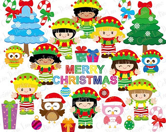 Elfen clipart happy Clipart Christmas Owl Digital Elves