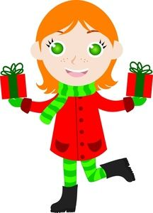Elf clipart christmas gifts Grinning gift art a Christmas