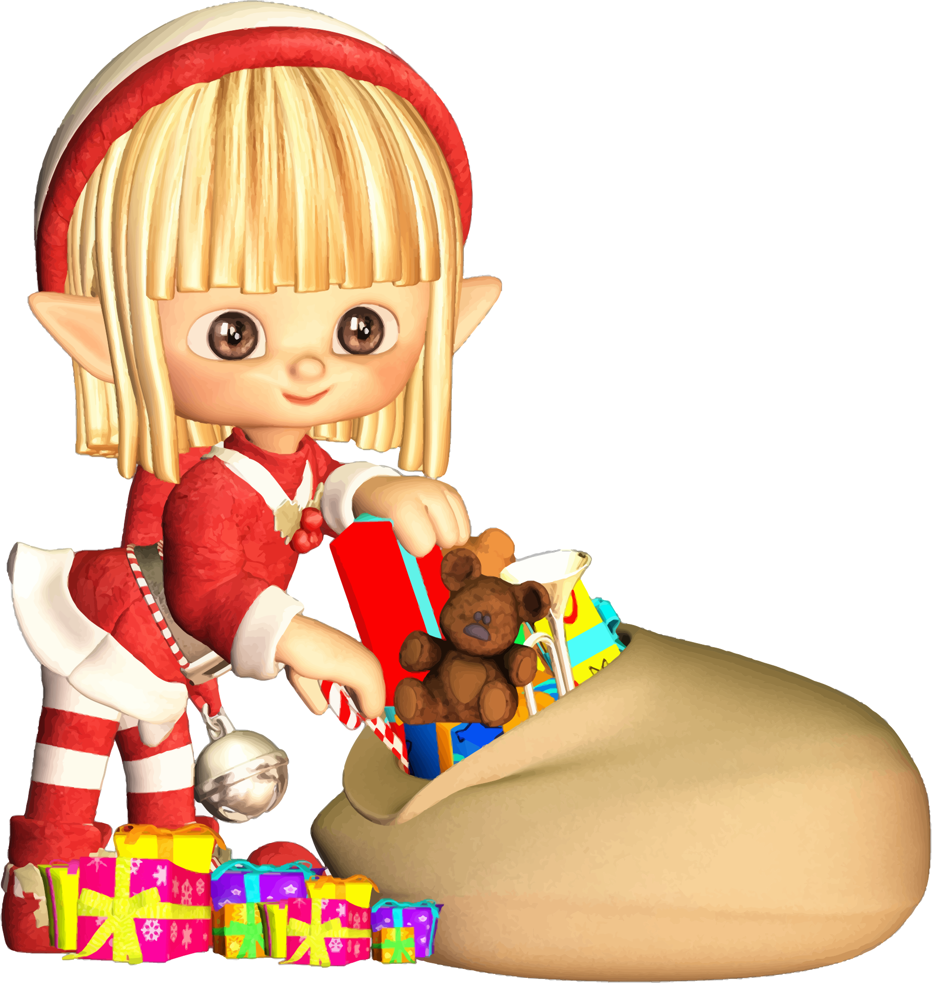 Elf clipart outline Gifts With Clipart Christmas Cartoon