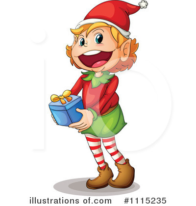 Elf clipart christmas presents Illustration (RF) Royalty Free #1115235