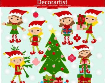 Glove clipart elf Elf christmas cards Etsy SALE