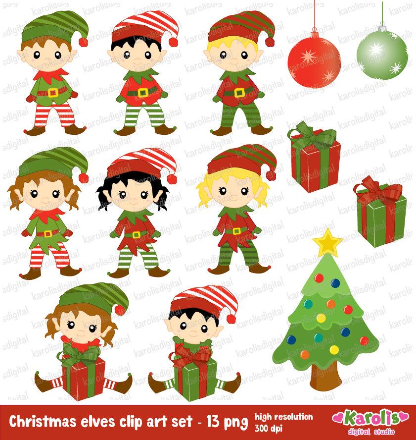Elf clipart cute Cute art christmas digital clip