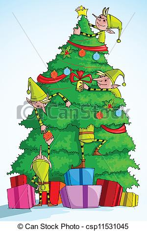 Elf clipart drawing christmas EPS illustration Christmas csp11531045 Tree