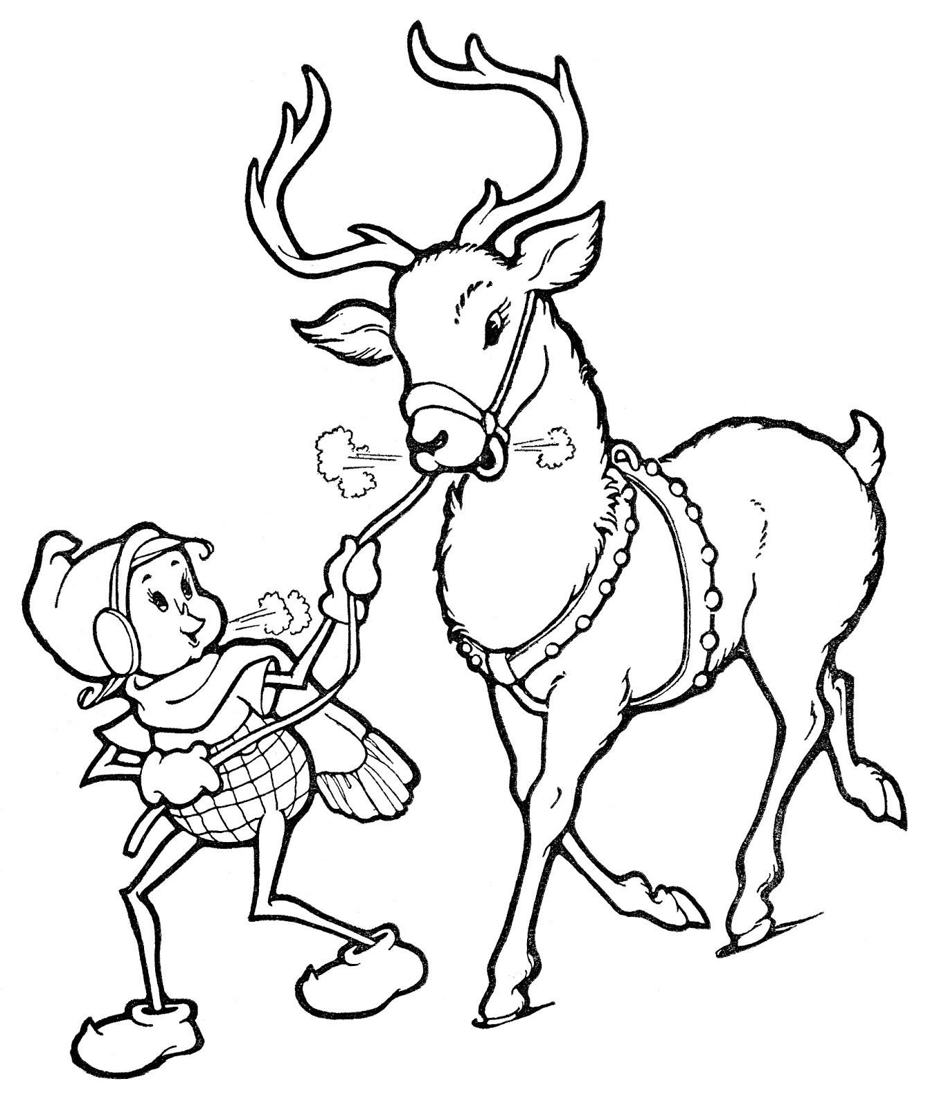 Drawn reindeer xma Line Art The Elf with