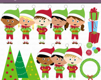 Elf clipart excited Christmas elf Clipart Digital Commercial
