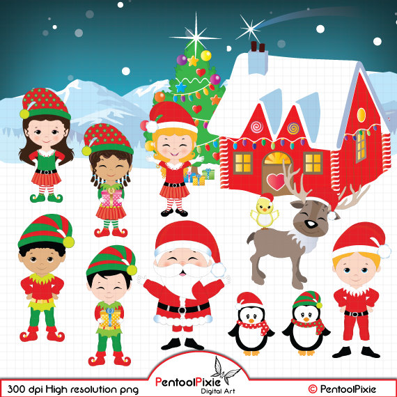 Elf clipart excited Christmas clipart Santa's elf clipart