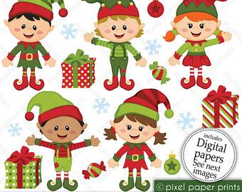 Glove clipart elf Paper set Happy art Elf