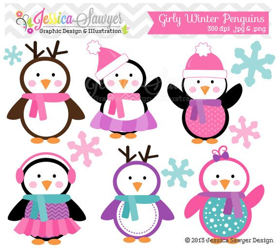 Holydays clipart winter wonderland Holiday winter girly penguins