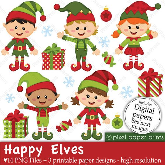 Elf clipart happy Art paper set and Christmas