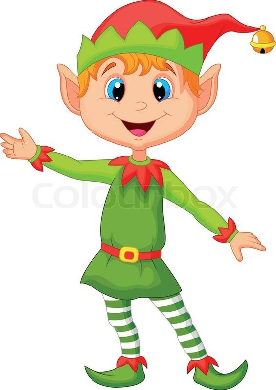 Elf clipart happy holiday Of presenting' cartoon Stock Pinterest
