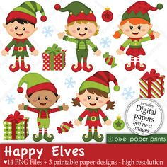 Elf clipart heart Christmas and Clip Elves Happy