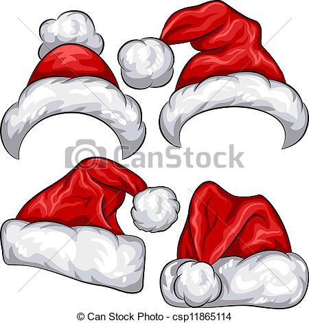Elf clipart holiday hat Set red Santa Christmas hats