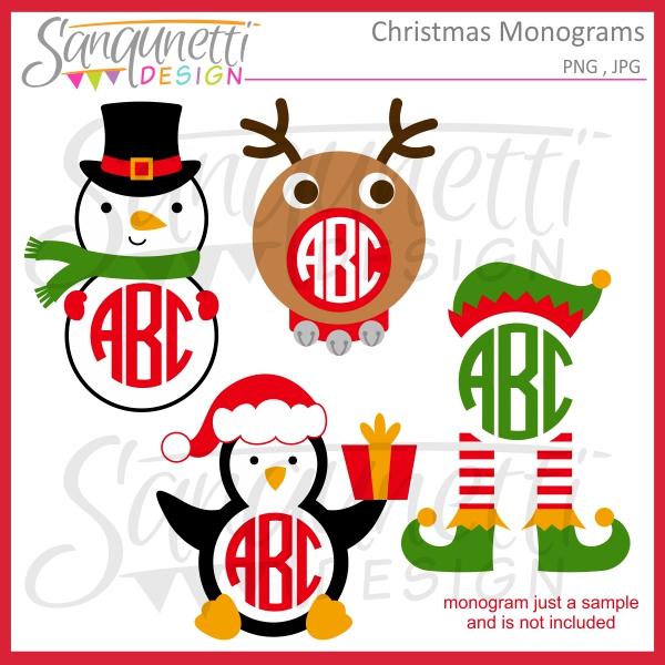 Elf clipart monogram Monogram Christmas Christmas Clipart Sanqunetti