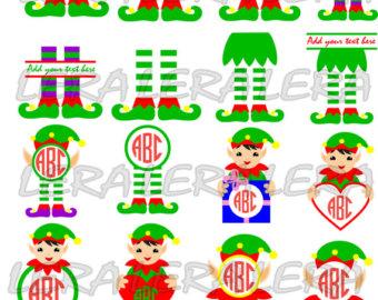 Elf clipart monogram % Christmas SVG Frame Elf