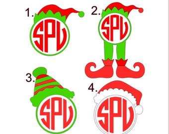 Elf clipart monogram Hat Monogram Santa Hat Elf