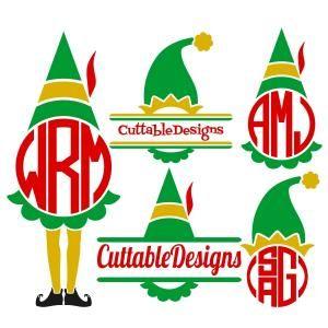Elf clipart monogram  Elf Cuttable Monogram about