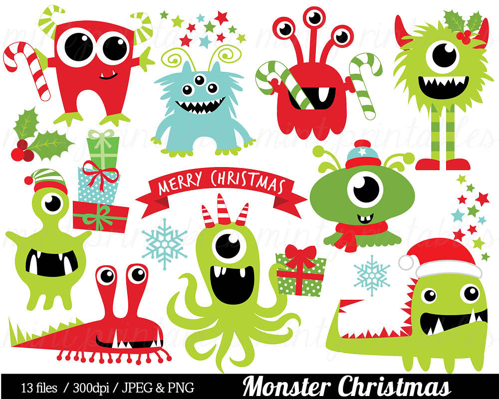 Snowman clipart monster Etsy hat Holiday Monsters Santa