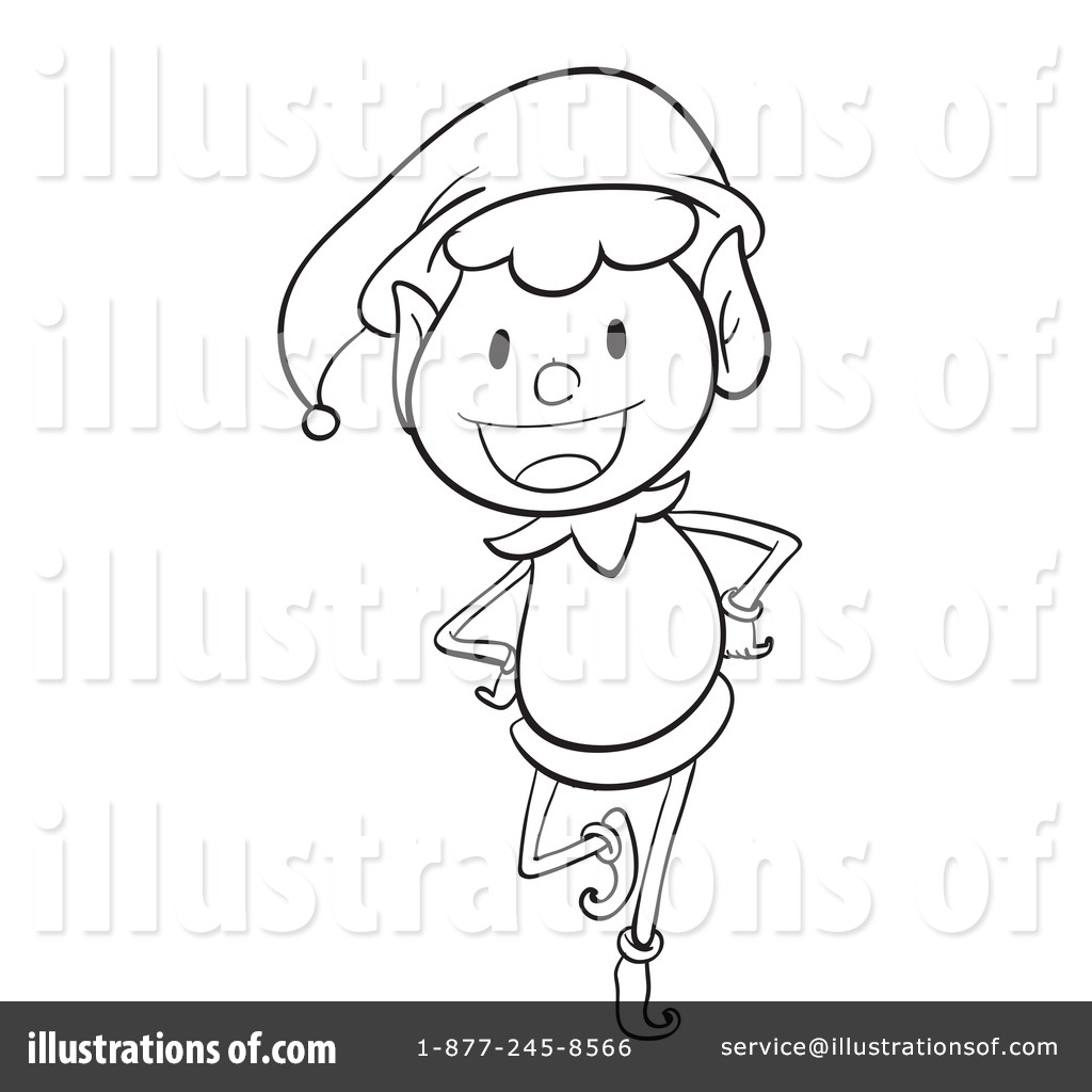Elf clipart outline Elf by Clipart Christmas Royalty