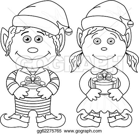Elf clipart outline Girl Christmas outline and Christmas